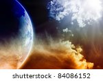 Apocalyptic background - dark dramatic space, white clouds, planet Earth, global warming, global warming effect, stop global warming, countdown to Armageddon, mayan apocalypse 2012 - stock photo