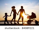 silhouettes of happy parents... | Shutterstock . vector #84089221