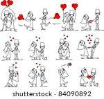 set of wedding pictures | Shutterstock .eps vector #84090892