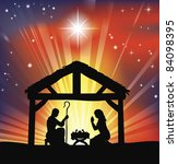 Illustration of traditional Christian Christmas Nativity scene - stock photo