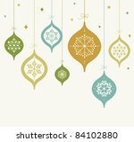 card with christmas balls | Shutterstock .eps vector #84102880