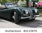 GRANTOWN ON SPEY, SCOTLAND - 4 SEPTEMBER: Jaguar XK 120 on display in the annual Motor Mania car show on September 4 2011 in Grantown On Spey, Scotland - stock photo