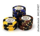casino chip stacks on white... | Shutterstock . vector #84119407
