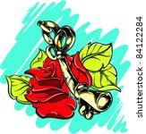 vector tattoo rose | Shutterstock .eps vector #84122284