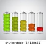set of charging batteries | Shutterstock .eps vector #84130681
