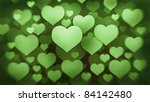 many green hearts background 3d ( high resolution ) - stock photo