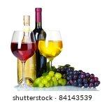 Ripe Grapes  Wine Glasses And...