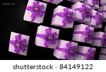 many white gift boxes with ribbon and bow background  3d render  ( high resolution ) - stock photo