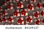 many white gift boxes with red ribbon and bow background  3d render  ( high resolution ) - stock photo