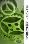 A Mechanical green Background with Gears and Cogs 3D render  ( high resolution ) - stock photo