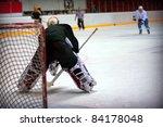 hockey goalie in generic black... | Shutterstock . vector #84178048