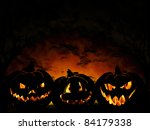 Halloween Pumpkin On Dark...