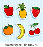 set of stickers with fruit... | Shutterstock . vector #84186271