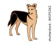 Raster version. Realistic German Shepherd. Illustration on white background - stock photo