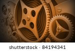 A Mechanical  Background with Gears and Cogs 3D render  ( high resolution ) - stock photo