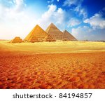 Giza Valley With Great Pyramid...