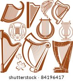 brown,celtic,clip art,collection,harp,icons,irish,line art,lyre,music,musical instruments,objects,set,shamrock,strings