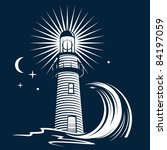 lighthouse and wave | Shutterstock .eps vector #84197059