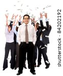 Business man leading a successful corporate group under a money rain ? isolated - stock photo