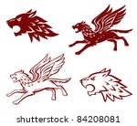 winged wolf illustration | Shutterstock .eps vector #84208081