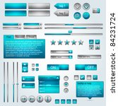 set of vector ui azure grey web ...
