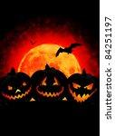 halloween pumpkin on dark...   Shutterstock . vector #84251197