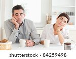bored couple drinking coffee in ... | Shutterstock . vector #84259498