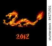 Raster version. Abstract fiery dragon. Illustration on black background for design - stock photo