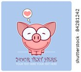 cute vector piggy with heart.... | Shutterstock .eps vector #84281242