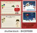 Christmas post cards and stamps on red, vector illustration - stock vector