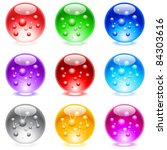 Raster version. Collection of colorful glossy spheres isolated on white.  Set #2. - stock photo