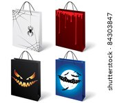 Raster version. A set of four Halloween shopping bags - stock photo