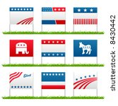 set of 9 election campaign... | Shutterstock .eps vector #8430442