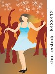 silhouette of lady dancing with ... | Shutterstock .eps vector #8433412
