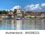 Waterfront of Nyon on the shore of Lake Geneva (Lake Leman), Switzerland