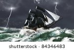 Tall Ship Sailing In Heavy Sea...