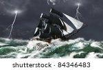 Tall Ship Sailing In Heavy Sea...