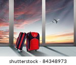 red suitcase and plane in the... | Shutterstock . vector #84348973