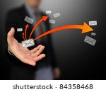Businessman holding message - stock photo