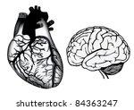 human heart and brain in black... | Shutterstock .eps vector #84363247