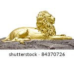 Golden Lion Statue Isolate On...