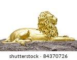 Golden Lion Statue Isolate On...
