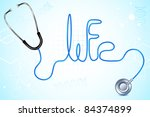 illustration of life text written with wire of stethoscope - stock vector