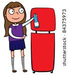 school girl recycling a plastic ... | Shutterstock .eps vector #84375973
