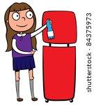 school girl recycling a plastic ... | Shutterstock .eps vector #84375973