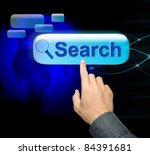 Man Hand Pressing Search Button