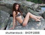 beautiful girl in swimsuit... | Shutterstock . vector #84391888