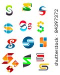 Set of alphabet symbols and elements of letter S, such a logo. Rasterized version also available in gallery - stock vector