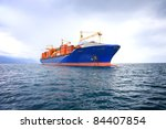 Commercial Container Ship With...