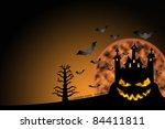 horror castle halloween... | Shutterstock . vector #84411811